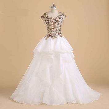 Cap sleeve Bridal gown Beaded Applique Organza ball gown wedding dresses