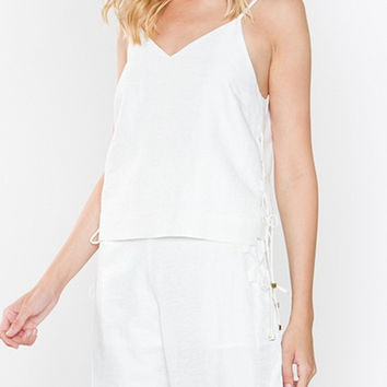 Satin linen cami top with side lace-up detail