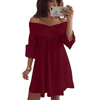 Red Crossed Smocking Off Shoulder Mini Dress