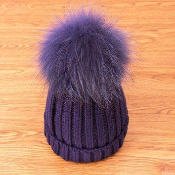 PEAPUNT 2016 New Style Winter Hats For Women Hats Skullies Beanies Solid Color Warm Hats Knitting Cotton Fur ball Caps Drop Shipping