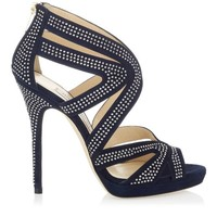 Navy Suede Platform Sandals with Studs | Cruise 2013 | JIMMY CHOO Sandals