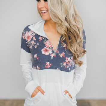 Ivory and Navy Floral Pullover