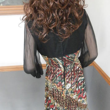 60's Women's Atomic ~ Mod  Multi Color of Metallic Threading Full Circle Skirt Dress   Long Sleeves~Sheer Black Sexy