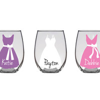 Personalized Wedding Glasses - stemless white wine glasses - Bridesmaid gifts with name and dress - set of two