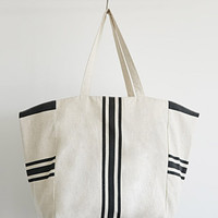 Striped Textured-Cotton Tote