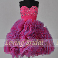 A-line Sweetheart Ssleeveless Short/Mini Satin Organza Fashion Prom Dresses/Wedding Dress/Cocktail Dress With Beading Free Shipping