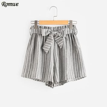 Vertical Striped Elastic Waist Self Tie Front Shorts Women Grey High Waist Shorts Summer Straight Shorts