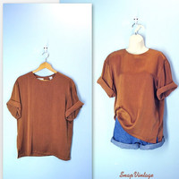 Slouchy Silky Tee / 80s Copper Shimmer Tshirt Blouse