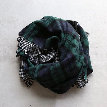 plaid + houndstooth scarf - green