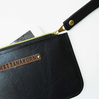 leather wristlet personalized bridesmaid bag bridal party clutch monogrammed bag phone wallet maid of honor gift pouch purse gift for her