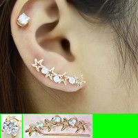 Starfish in Line Long Clip Ear Pin Asymmetric Set (2 pieces)