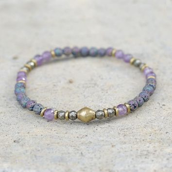 Amethyst and Pyrite Delicate Aromatherapy Bracelet