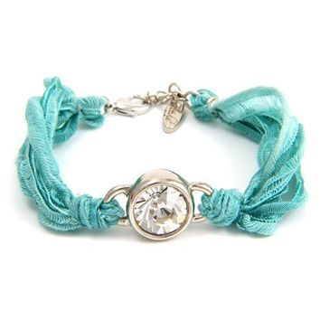 Circle Silver Crystal Gem on Turquoise Vintage Ribbon Bracelet