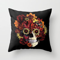 Full circle...Floral ohm skull Throw Pillow by Kristy Patterson Design