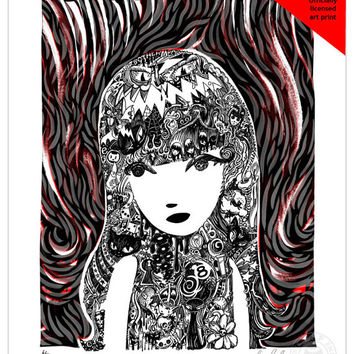 Doodlehead, 11x14 Emily The Strange Art Print by Buzz Parker Limited Edition