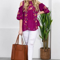 Floral Embroidered Off Shoulder Tunic Top