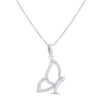 Sterling Silver Cz Flying Butterfly Necklace 18""