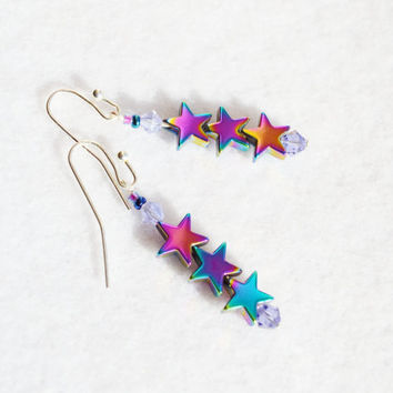 Star earrings, hematite stars, star dangles, Christmas jewelry, lavender earrings, silver dangles, New Year's earrings, Montana made, boho