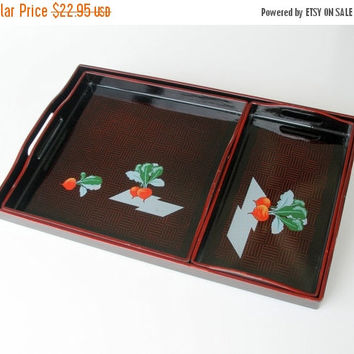 SALE Asian Black Lacquer Serving Trays Set, Vintage Cocktail Trays, Hors d'Oeuvres Trays, Party Trays Set.