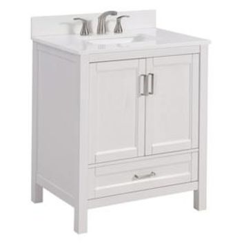 Shop Scott Living Durham White Undermount Single Sink Bathroom Vanity with Engineered Stone Top (Common: 30-in x 22-in; Actual: 30-in x 22-in) at Lowes.com