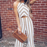 Sleeveless Halter Striped Casual Jumpsuit