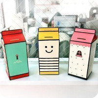 2016 Promotion Sale Box Cofre Cofrinho Tirelire Diy Personality Lovely Paper Milk Carton Piggy Bank A Section