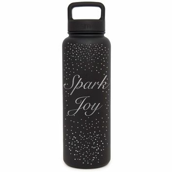 Premium Stainless Steel Water Bottle, Spark Joy Design, Extra Lid, 40oz (Midnight Black)
