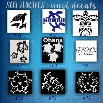 SEA TURTLES vinyl decals - pgs 8-10 - car window stickers