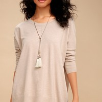 Keesa Beige Oversized Sweater Top