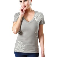 Jala Clothing Henna V-Neck Tee - Stone Grey