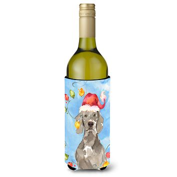 Christmas Lights Weimaraner Wine Bottle Beverage Insulator Hugger CK2497LITERK