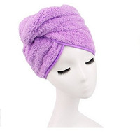G2PLUS® Sweet Superfine Fiber Soft Coral Fleece Hair Dry Hat Cap Towel Bath Hair Towel Wrap (Purple)