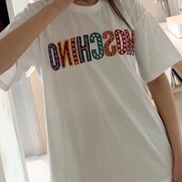 """""""MOSCHINO"""" Woman Casual Wild Fashion Letter Print Short Sleeve Tops"""