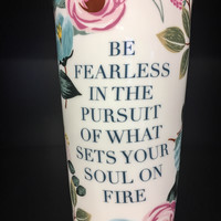 Peach Floral Fearless Ceramic Travel Tumbler