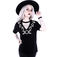 Witchcraft symbols V-neck with choker Black Fashion Tee - Goddess