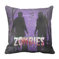 Graveyard Zombies w/Bats and Trees Throw Pillow
