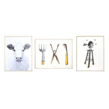 DCCKX8J New View Rustic Farmhouse Framed Wall Art 3-piece Set