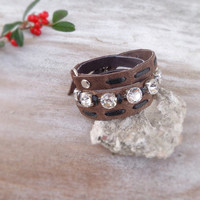 Distressed leather bracelet, wrist wrap bracelet, rhinestone leather cuff, cool jewelry