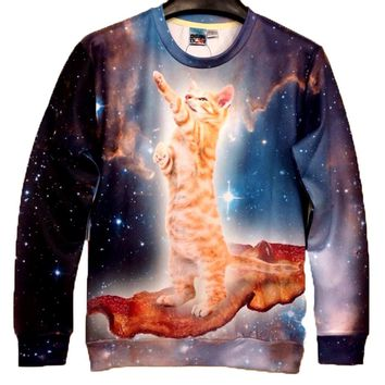 Kitty Cat Riding on Bacon in Space All Over Print Unisex Pullover Sweatshirt