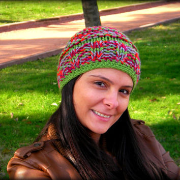 green hat,red slouchy hat,handmade hat,slouchy hat,women hat,winter accessories,women accessories