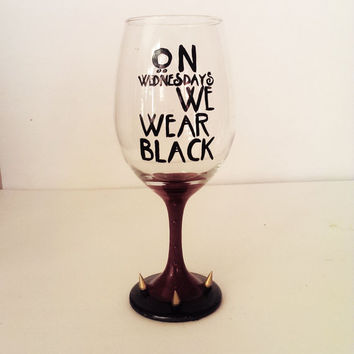 On wednesday we wear black wine glass  - AHS inspired - rhinestones - gold spikes