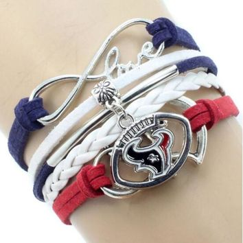 Infinity Love Houston Texans Multi-Strand Bracelet Football Team Charm Bracelets & Bangles Sport Women Men Jewelry 6PCS