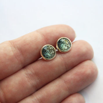 NEW - SMALL Faceted Green Ombre Glitter Earrings - Posts/Studs 8mm SMALL