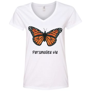Monarch Butterfly Personalized Ladies' V-Neck T-Shirt