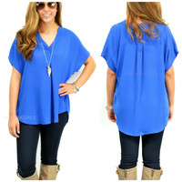 Shady Bluffs Royal Blue Chiffon V-Neck Top