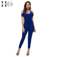 HEE GRAND Jumpsuit Bodysuit Rompers Womens Combinaison Femme Overalls Sexy Backless Hollow Out Full Length Pants WKL489