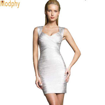 Women gold silver foil bandage dress new fashion sexy backless lady tank v-neck mini cocktail party bodycon dresses MD1522