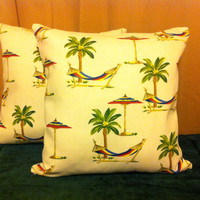 "Pillow Covers 16"" Set of Two - Tropical Palm Tree and Hammock Pattern"