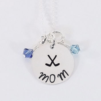 Sterling Silver Hand Stamped Field Hockey Mom Necklace, Hockey Mom Necklace with Swarovski Crystal Birthstone Dangles