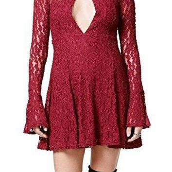Free People Women's Corded Teen Witch Lace Fit & Flare Dress In Plumeria Size Large